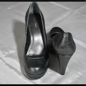 "CALVIN KLEIN 4"" METALLIC PEWTER PLATFORM PUMPS"
